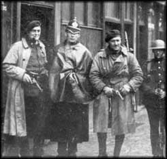 RIC, Auxiliaries and a DMP policeman - the DMP halfheartedly aided British forces up to October 1920.