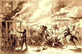 "Pro-Union ""Jayhawkers"" burn Pro-Confederate houses in Missouri in the Civil War"