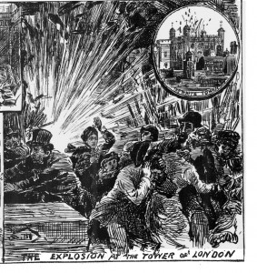 An illustration of Fenian bombs in London.