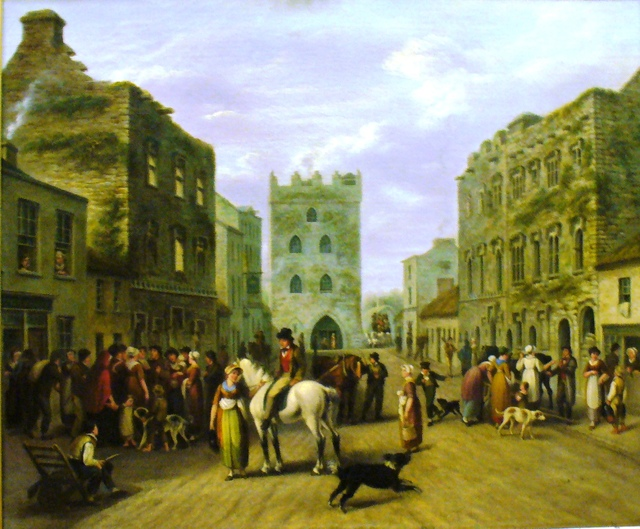 A 19th century painting of High Street, Kilmallock, the buildings are 16th century and the street would have looked much the same in 1600.