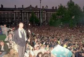 Jack Charlton at Ireland's homecoming reception in Dublin in 1990.