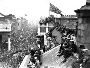 The victory parade for the Great War in Dublin in early 1919.