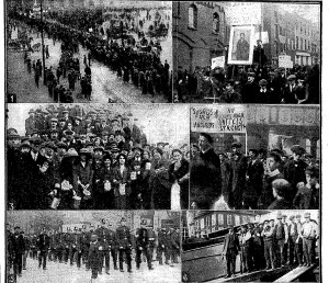 The swords strikers demonstrate in Dublin in 1913. The banner, middle right says, 'unity is strength'.