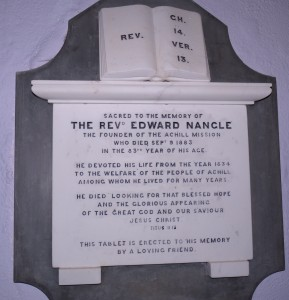 Edward Nangle memorial tablet at St Thomas' Church, Dugort, Achill. Photo by P Byrne