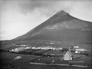 The Colony, Dugort, Achill c. 1870 with St Thomas' Church in foreground.