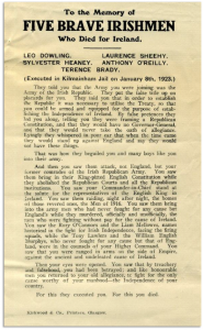 An anti-Treaty handbill in memory of five of their men executed in December 1922. Republicans blamed Dwyer for these deaths.