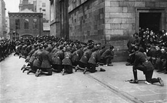 National Army troops pray during the Civil War.