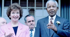 Nelson Mandela with Irish President Mary Robinson