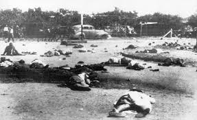 The gruesome aftermath of the Sharpeville massacre, 1960 in which 69 peaceful demonstrators were shot dead by South African security forces.
