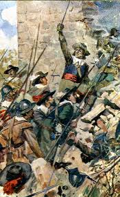 A depiction of the assault on Drogheda 1649.