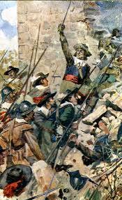A depiction of the assault on Drogheda 1649.