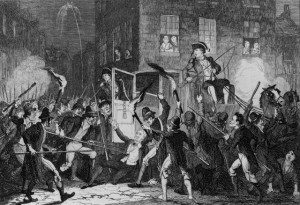 A representation of the killing of Lord Kilwarden during Emmet's failed rebellion in 1803.