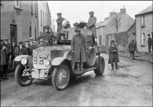 Free State troops in Sligo in an armoured car.