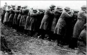 Pro Treaty troops in Leitrim in 1922. The basence of standardised uniforms shows the disorganisation of free State troops in the area.
