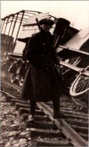 A derailed train, part of anti-Treaty IRA tactics in early 1923.