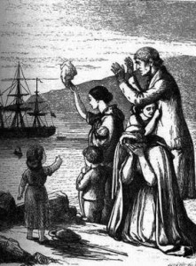 A 19th century depiction of emigration from Ireland.