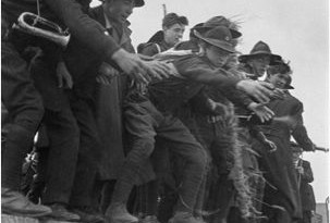 The Howth Gun Running, 100 years ago in 2014. Fianna members unload the Mauser rifles from the Asgard.