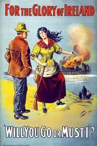 War propaganda in Ireland encourages Irishmen to save Catholic Belgium.