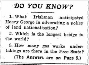 Quiz in the Irish Independent, 1929.