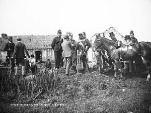 An eviction during the 'Land War' of the 1880s.