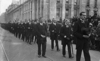 WT Cosgrave leads the funeral procession for Kevin O'Higgins, the government minister gunned down in July 1927