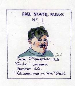 Anti-Treatyite caricature of pro-Treaty IRB activist Sean O Muirthile.