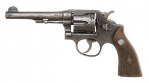 A Smith and Wesson .38 calibre revolver.