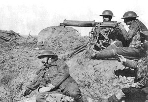 Vickers machine gun being used by British troops in the First World War.