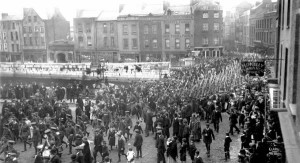 Irish soldiers on O'Connell (Sackville) Street Dublin, marching to war.