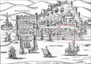 A map of Youghal, sacked by the Geraldines in 1579.