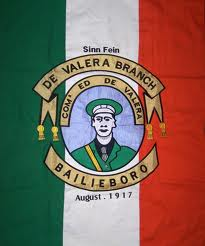 A flag from 1917 featuring Eamon de Valera.