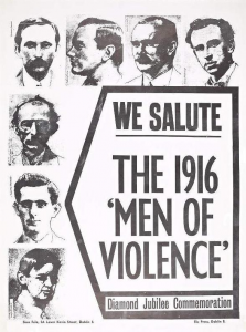 A republican poster from 1976, satirising the description of the IRA as 'Men of Violence'.