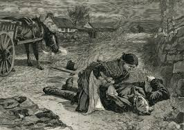A depiction of roadside murder during the Land War.