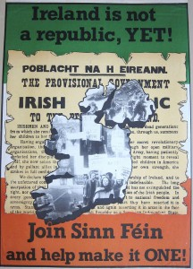 A Sinn Fein poster from the 1970s invokes the proclamation of 1916.