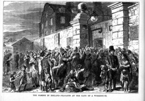 A riot outside a workhouse during the famine of the 1840s.