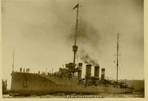 HMS Gloucester. Mobilised to intercept the Aud and later used against the Rising in County Galway.