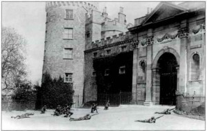 Fighting at Kilkenny Castle during the Civil War in 1922. In 1923 the war still paralyzed the justice system in rural Ireland.
