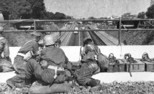 Irish troops at the battle of the Battle of the Tunnel.