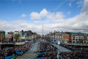 Crowds on Dublin's O'Connell Street watch the Irish Air Corps fly past during the 2016 Easter Rising commemoration. (Pic Courtesy of Irish Times).