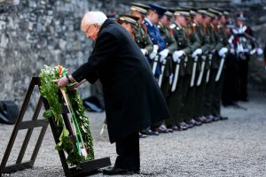 President Michael D Higgins lays a wreath at Kilmainham in remembrance of the men executed there.
