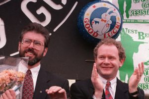 Adams and MCGuinness announce the IRA ceasefire of August 1994.