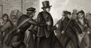 William Smith O'Brien being led away by police after the 1848 rising. Source: Hulton Archive